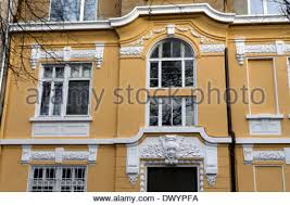 fragment of building with balcony and ornaments sofia