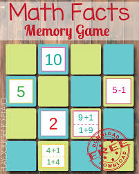 Free Math Facts Worksheets Math Fact Memory Game Math Facts Plato And Math