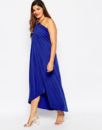 asos halter swing maxi dress with gold necklace in blue lyst