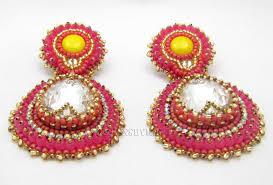 Crystal Chandelier Earrings Beadfeast Pink Bollywood Inspired Earrings Beadfeast