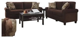 Sofa Set In Living Room Serta Trinidad 2 Piece Sofa Set In Chocolate Fabric Transitional