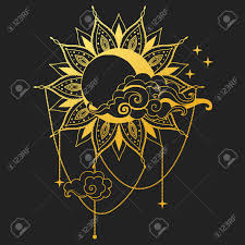 moon and sun on black background vector illustration royalty free