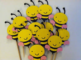bumble bee cupcakes 12 bumble bee cupcake toppersbaby girl shower bee food picks