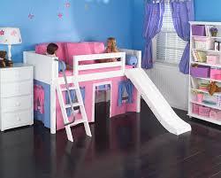playhouse low loft bed w slide by maxtrix kids pink blue on
