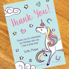 thank you notes unicorn personalized thank you notes