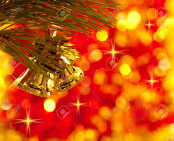 gold tree decorations on lights background stock