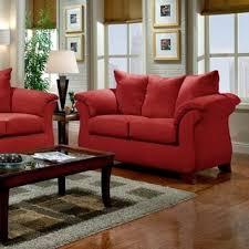 Microfiber Sofa And Loveseat Sensations Microfiber Pillow Back Sofa And Loveseat Set Red