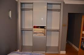 3 Door Closet Grey Glass Mirror Strips Sliding Doors Closet Richmond Tw10