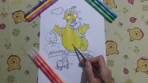 sesame street coloring page colorful big bird fun video to