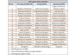 nfl schedule release top prime time of 2015 nfl