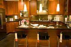 kitchen counter setting home interiors stock image image 31199511