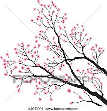 clipart of tree branches with pink flowers k4943091 search clip