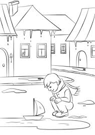 spring in a small town coloring page free printable coloring pages