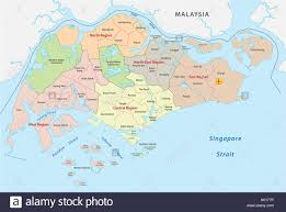 Singapore Map World by Administrative Divisions Map Of The Republic Of Singapore Stock
