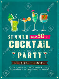 retro cocktail party retro style summer cocktail party poster template royalty free