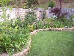 fabulous perimeter wall of backyard landscape ideas made of wood