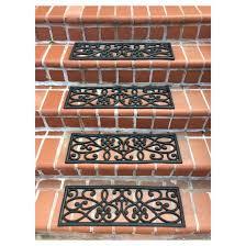 outdoor rubber scrollwork stair tread 4pk black amerihome target
