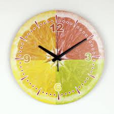 beautiful clocks modern lemon wall decoration wall clock with waterproof clock face