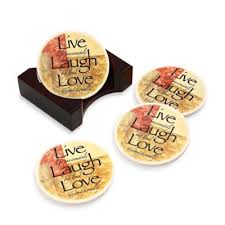 Bed Bath And Beyond Coasters Words To Live By Round Coasters Set Of 4 Bedbathandbeyond Com