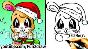 how to draw santa bunny for christmas real time drawing tutorial