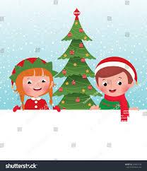 children christmas costumes elves santa claus stock vector