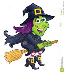 witch riding her broom stock illustration image 39625669