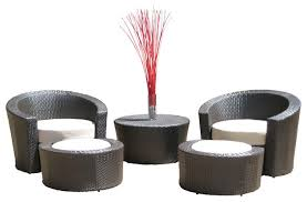 outdoor wicker resin all weather 5 piece lounge chair and ottoman