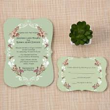 wedding invitations newcastle bracket scallop unique shabby chic boho themed rustic green