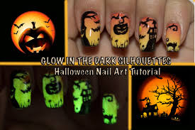 glow in the dark halloween silhouettes nail art tutorial youtube