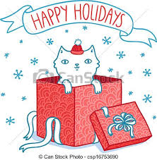 eps vectors of christmas card with cat in a gift box csp16753690