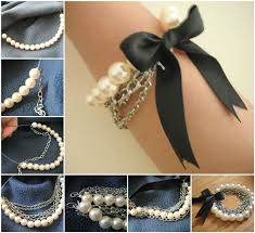 diy pearl bead bracelet images Ideas diy chained pearl ribbon bow bracelet jpg