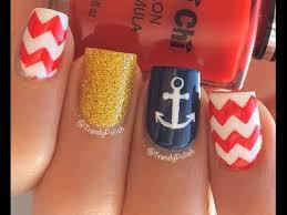 nautical nail art tutorial anchor chevrons youtube