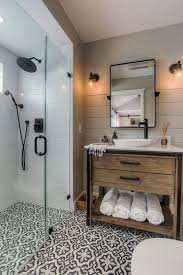 patterned tile bathroom shower floor pan bathroom transitional with cement tile resistant