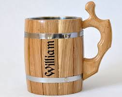 wooden personalized gifts personalized wooden mug 0 65 l 22oz groomsmen gift mug