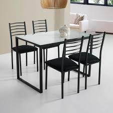 table en verre cuisine ensemble de noa table de cuisine verre 4 chaises blanc achat
