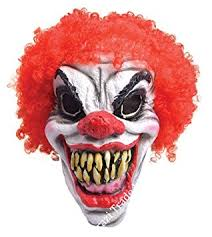 Scary Mask Clown Horror Halloween Scary Mask Overhead Red Clown Wig Accessory