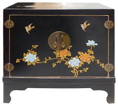Cabinet End Table Chinese Oriental Black Vinyl Flower Side Table Cabinet Hcs1540