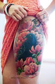 leg flower tattoos realistic raven and flowers thigh piece by brad bellante human