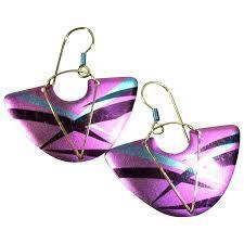 niobium earrings vintage yashi niobium earrings fan shape from