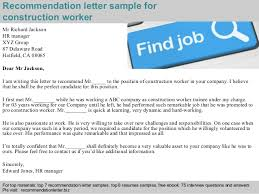 Sample Resume For A Construction Worker by Construction Worker Recommendation Letter