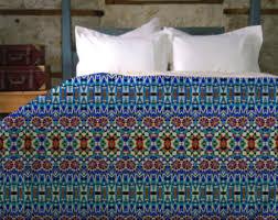 boho bedding bohemian duvet cover blue purple pink yellow