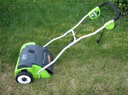 greenworks electric lawn dethatcher dethatching lawn review