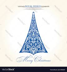 vintage christmas tree vintage christmas tree blue royalty free vector image