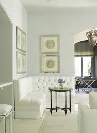 White Table L L Shaped Tufted Banquette Traditional Living Room