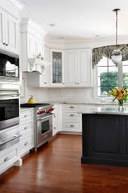 Building Traditional Kitchen Cabinets White Glazed Kitchen Cabinets Kitchen Traditional With Appliance