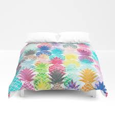 hawaiian pineapple pattern tropical watercolor duvet cover by