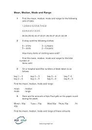 worksheet mean median mode fractions number line worksheet