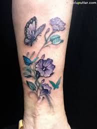 cool purple flower and butterfly on ankle goluputtar com