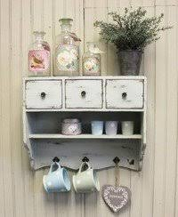shabby chic wooden vintage white wall unit cupboard rack 3 drawers