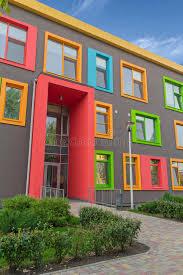 contemporary style architecture multi colored windows of the school in a contemporary style stock